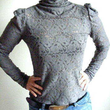 grey blouse/ lace blouse/ long sleeve lace blouse/ victorian sblouse/ steampunk clothing