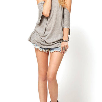 Grey Racer Back Loose Tank Top