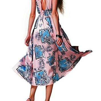 Yataixin Womens Halter V Neck Split Backless Prom Party Floral Print Flowy Shift Casual Maxi Dress Pink