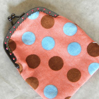 Pink Coin Purse clutch cotton polk-a-dot fabric with hand sewn beads