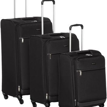 "AmazonBasics Softside Spinner Luggage Black 3-piece set (21""/25""/29"")"