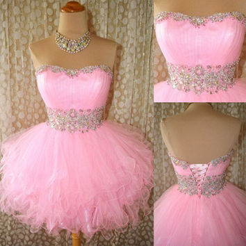 Homecoming Dress,Chiffnon Strapless Pink Sweet Cute Short Prom Dress
