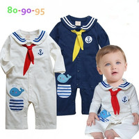 New  baby boys   autumn clothing navy suit  long sleeve  rompers = 1705111044