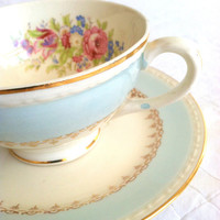 Antique Georgian Homer Laughlin Eggshell Chateau Blue Tea Cup and Saucer/Cottage Style
