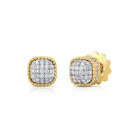 Roberto Coin New Barocco Dome Diamond Earrings in 18K Yellow Gold