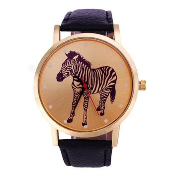 Zebra Pattern Leather Band Analog Quartz Wristwatch