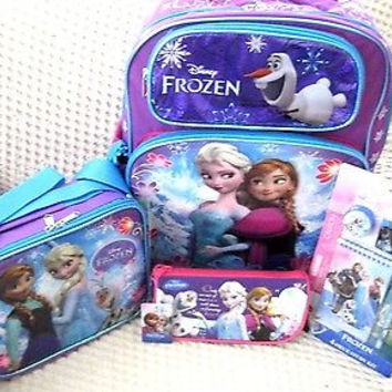 "Frozen 16"" Rolling Backpack,Lunchbox,Pencil Pouch,4 pc Stationary Set Combo-New!"