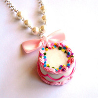 Birthday Cake Necklace, Pink and Rainbow Sprinkles Cake Necklace, Birthday Cake Pendant, Miniature Food Jewelry