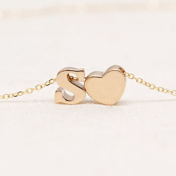 Solid Gold Initial Heart Necklace - Lowercase Solid 14K Gold Letters - Gold Heart - Bridesmaid Gifts