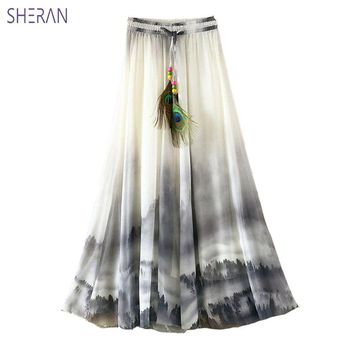 SHERAN Maxi Skirt Long Skirts Womens 2018 Casual Elastic Waist Chiffon Plus Size Circle Big Pendulum Ink Printing Fairy Of Skirt