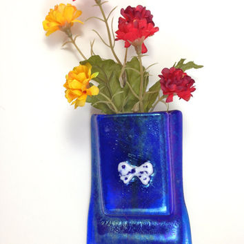Royal Blue Fused Glass Magnet Vase Polka Dot Bow
