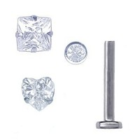 A-Clear 18 gauge Labret Stud Set of 3 Tops and 1 Steel Labret Stud-Round-Square-Heart Jeweled Tops