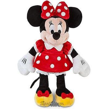 """Licensed cool 12"""" NEW Disney Store Exclusive Small Minnie Mouse Plush Stuffed Doll RED DRESS"""