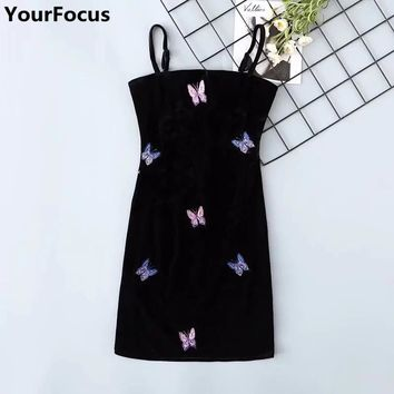 Harajuku vintage retro old school velvet black butterfly pattern embroidery spaghetti strap black women mini dresses YQ-813