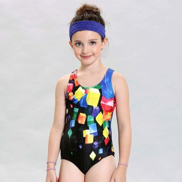 New Children Swimwear Kids Patchwork Sports Swimming Clothes 2017 One Piece Baby Toddler Swimsuit Girls Bathing Suits Beachwear