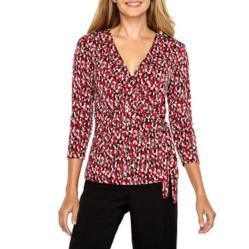 Black Label by Evan-Picone 3/4 Sleeve V Neck Jersey Dots Blouse - JCPenney