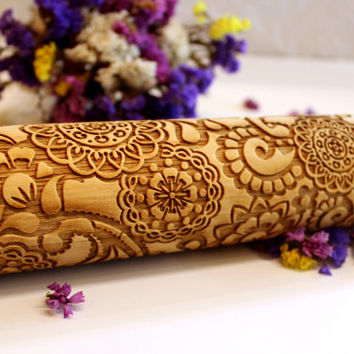 FLOWERS FLORAL PAISLEY 2 Pattern, Embossing Rolling Pin, Laser Engraved Rolling Pin, Embossed Dough Roller, Gift, Rolling Pin, Big