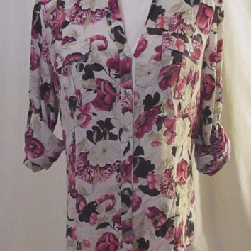 White House Black Market Silk Blouse Shirt Women's 10 Cream with Floral Design