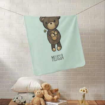 Cute Brown Bear Holding a Yellow Flower Custom Swaddle Blanket