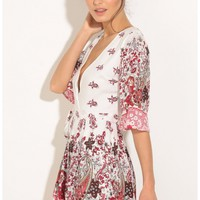 Rompers/Jumpsuits > Bohemian Inspired Wrap Romper In White And Red