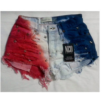 Patriotic American flag Dyed High Waisted Hipster Festival Fringed Denim Shorts