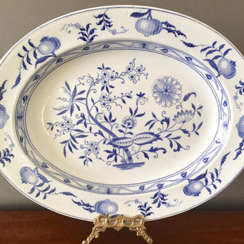 Blue Onion Platter by Furnivals Ltd. 13.5 Inch Platter, Blue and White Platter, Collectible Blue and White China, Circa 1913