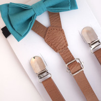 SUSPENDER & BOWTIE SET.  Newborn - Adult sizes. Light brown pu leather suspenders. Turquoise bow tie.