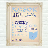 Personalized, Nursery Wall Art 8 x 10 Birth Announcement baby Boy, Baby Name.