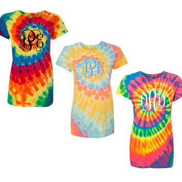 Tie Dyed Shirts Monogrammed, Tie Dye Ladies Tops, Monogrammed Gifts, Pastel, Bright, Bold, Red, Pink, Green, Pinwheel Design