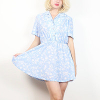 Vintage 1980s Micro Mini Dress Light Blue White Floral Print Secretary Dress 80s Shirt Dress Preppy Waitress Uniform Skater Skirt S M Medium
