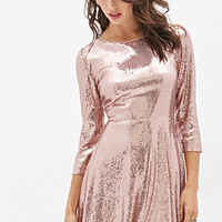 FOREVER 21 Sequined Skater Dress Blush
