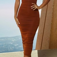 Bring It Back Sleeveless Spaghetti Strap Sweetheart Neck Ruched Bodycon Midi Dress - 2 Colors Available