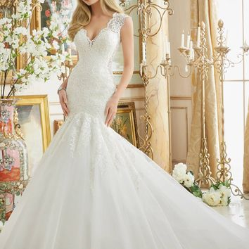 Mori Lee 2882 Frosted Beaded Lace Fit & Flare Wedding Dress