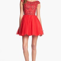 Women's Sherri Hill Embellished Tulle Fit & Flare Dress