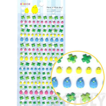 Easter Themed Baby Chick Bird and Four Leaf Clover Puffy Stickers for Kids | Cute Scrapbook Decorating Supplies