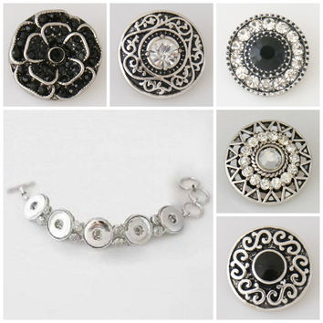 Noosa style bracelet plus 5 Chunk Charms buttons that will fit ginger snap style jewelry.