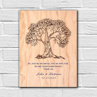 Wedding Gift for Parents, Parents Gift Wedding, Personalized Thank You Gift for In Laws, Mom and Dad Wedding Gift, Gift from Bride and Groom