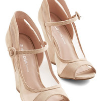 ModCloth Happy as a Glam Wedge in Sand