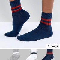 ASOS 3 Pack Stripe Ankle Sock at asos.com
