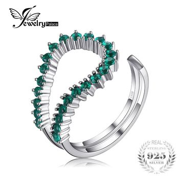 JewelryPalace Fashion 0.5ct Nano Russian Simulated Emerald Open Ring 925 Sterling Silver Brand Unique Design Party Fine Jewelry