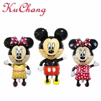 1pc 114cm Giant Mickey Minnie Mouse Balloon Cartoon Foil Birthday Party Balloon Airwalker Balloons for Kids Baby Toys Party