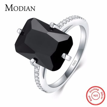 Modian High Quality Solid 925 Sterling Silver Ring For Women Fashion Black Crystal Wedding Engagement Finger Silver Rings Anel