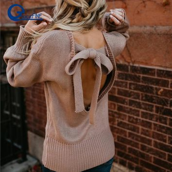 Backless Loose Cut out Sweater winter white knitted sweater Women female Soft warm autumn casual Open Back Knit Sweater jumper