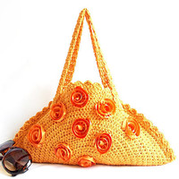 Crochet Bag Clutch Orange Summer Bag Chic Circle bag by aynikki