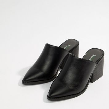 Matt & Nat Black Heel Mules at asos.com