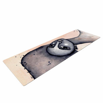 """Stacey-Ann Cole """"Yearning African American Art"""" Beige Black Yoga Mat"""