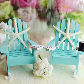 Wedding Cake Topper ~ Tiffany Blue ~ Miniature Adirondack Chairs  ~  Starfish Bride / Groom ~ Beach Wedding Decor ~ Cake Topper
