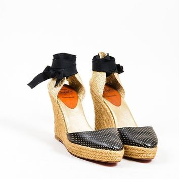 CREYU2C Black and Gold Christian Louboutin Perforated Leather Espadrille Wedges