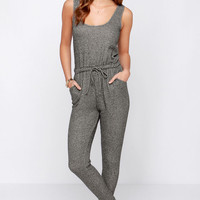 LULUS Exclusive One-Two Punch Grey Jumpsuit