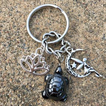Hematite Grounding Turtle, Cute Fairy Moon, Lotus Flower tag Keychaing w/ FREE Bag & Angel Message Card. Angel Healing Energy Infused. TEMPT